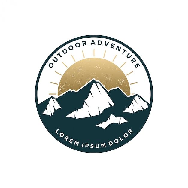 Гора открытый логотип винтажный дизайн Premium векторы