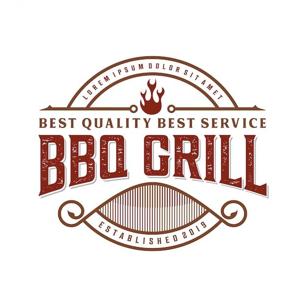 レストランのビンテージバーベキューロゴ Premiumベクター