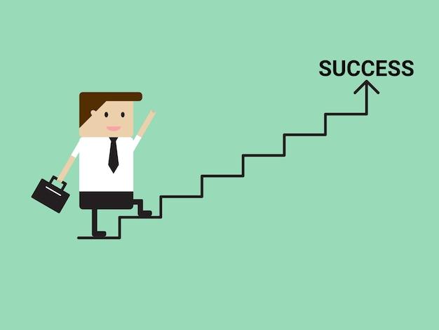 成功、階段を歩くビジネスマン 無料ベクター