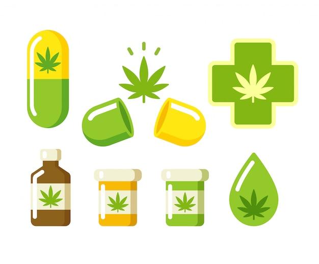 Медицинская марихуана иконки Premium векторы