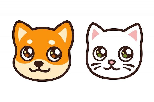 漫画の猫と犬の顔 Premiumベクター