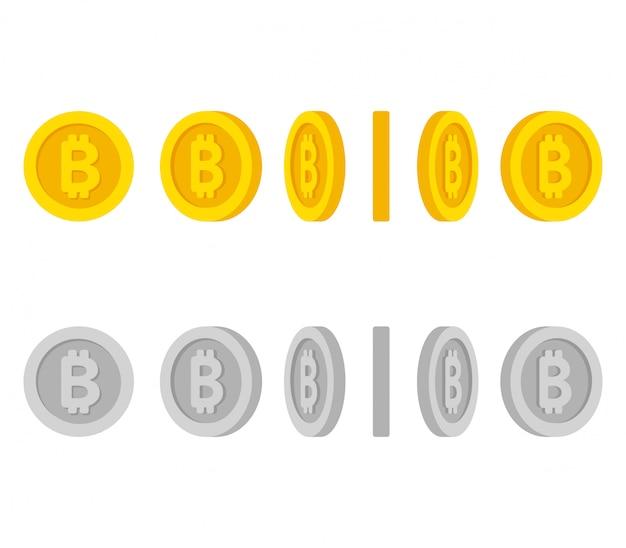 異なる位置セットの漫画コイン Premiumベクター