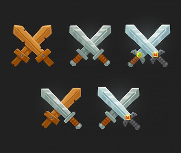Набор игровых мечей Premium векторы