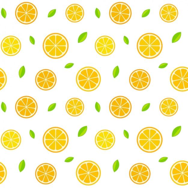 シームレスな柑橘類のパターン Premiumベクター