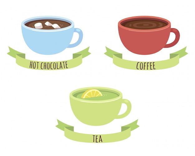 チョコレート、コーヒー、紅茶マグ Premiumベクター