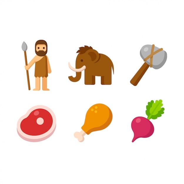 Набор иконок палео, мультфильм иконки первобытного человека и его диета. Premium векторы