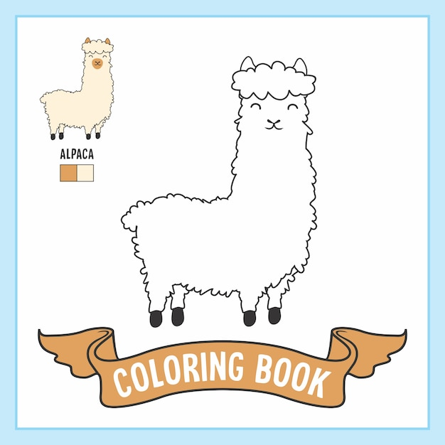 アルパカの動物の塗り絵ページ Premiumベクター