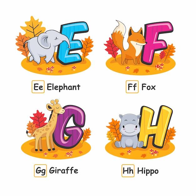 Животные азбука осенний слон фокс жираф бегемот Premium векторы