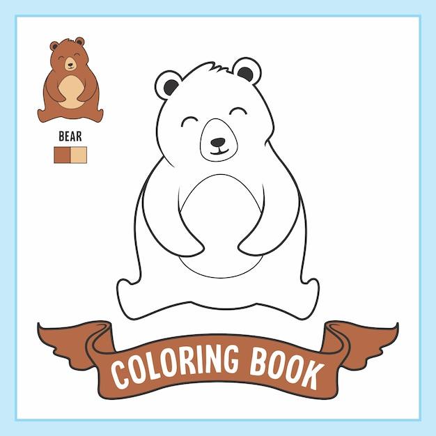 Книжка-раскраска медведь животные Premium векторы
