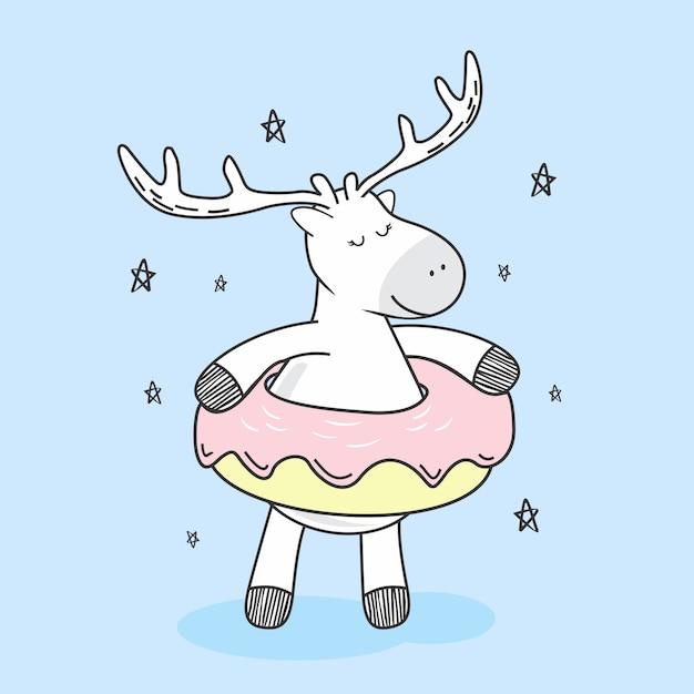 かわいい鹿ドーナツ落書き漫画かわいい Premiumベクター