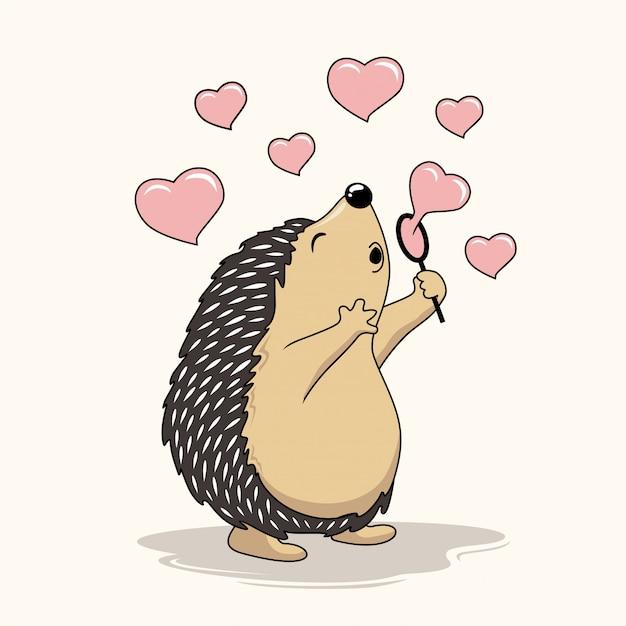 ハリネズミが愛のシャボン玉バルーン漫画ヤマアラシを演奏 Premiumベクター