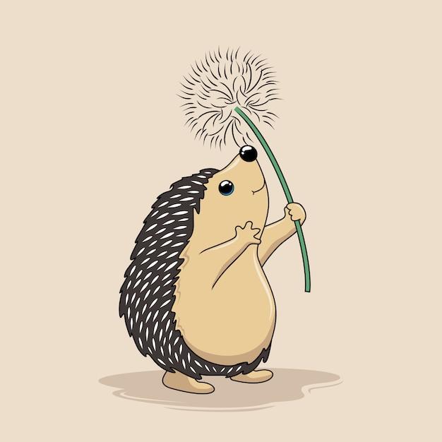 ハリネズミはタンポポの花を飛んで漫画ヤマアラシを再生します Premiumベクター