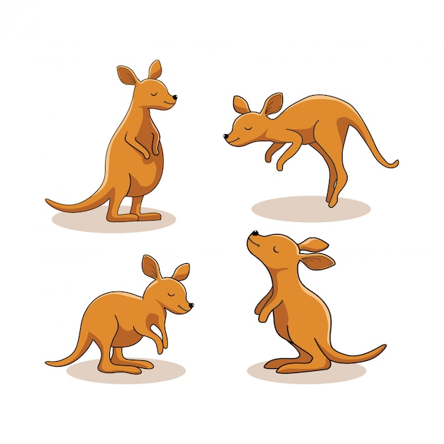 カンガルー動物漫画かわいいワラビーセット Premiumベクター