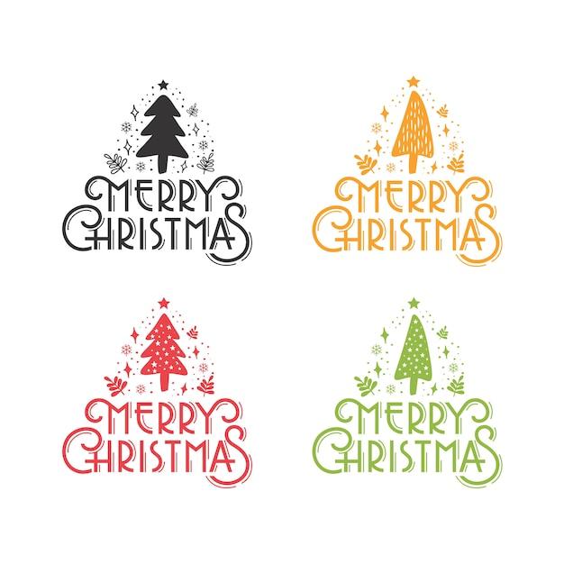 メリークリスマス素朴な松の木グリーティングセット Premiumベクター