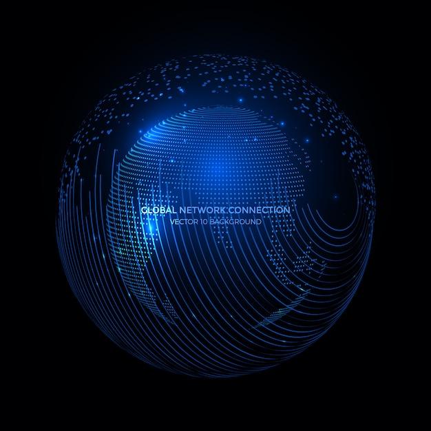 地球地球背景、インターネットビジネスのための通信技術の周りの接続線。 Premiumベクター