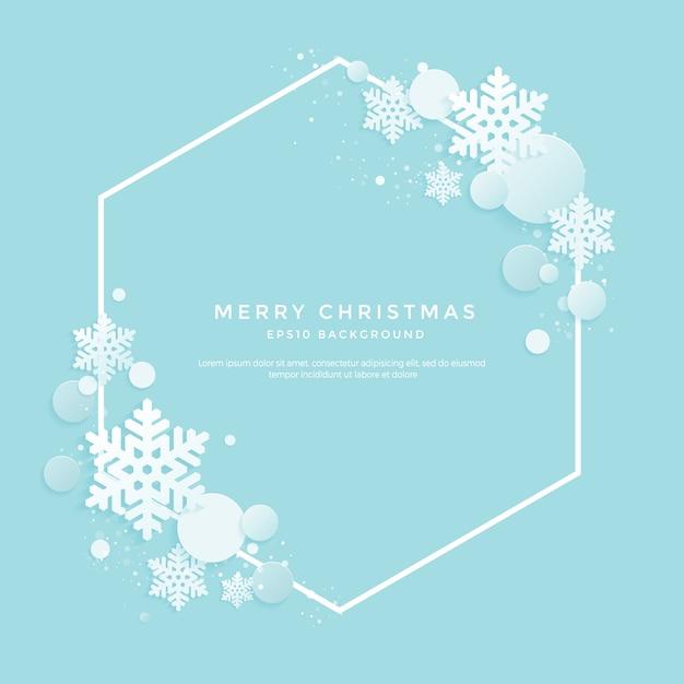 Рождественский фон с белыми снежинками на синем фоне Premium векторы