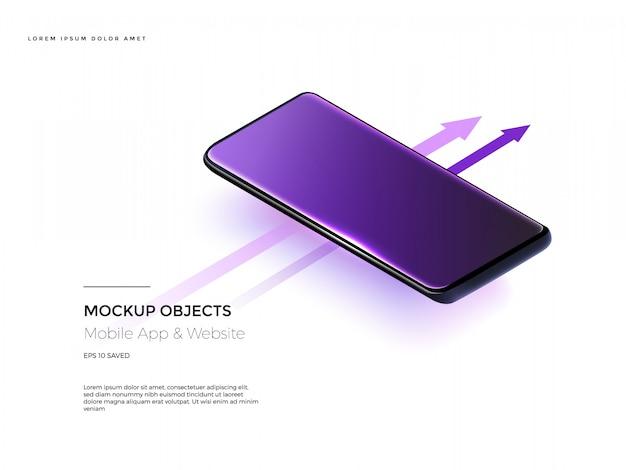 Рамка мобильного телефона с пустым дисплеем. Premium векторы