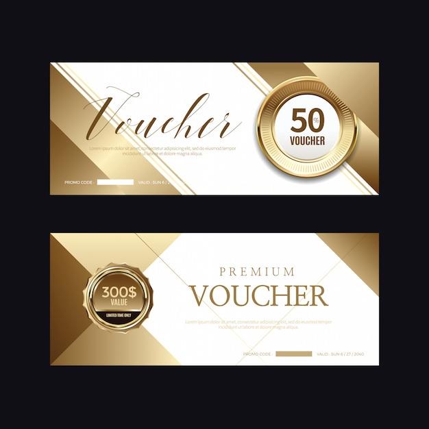 高級ゴールデンバッジとラベル、バウチャーカード Premiumベクター