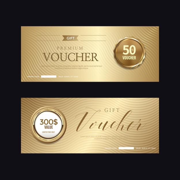 Роскошный золотой значок и ярлыки, ваучер Premium векторы