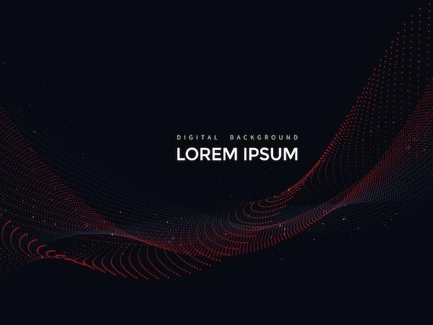 黒の背景、抽象的なメッシュデザインのデジタルライン Premiumベクター