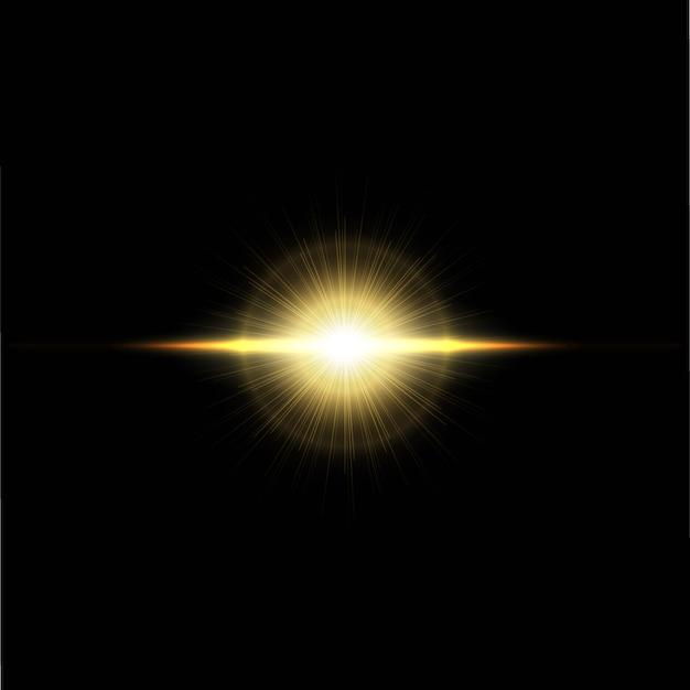 フラッシュ、ライト、スパークのセット。透明な背景に分離された抽象的な黄金色のライト。明るい金色の閃光とまぶしさ Premiumベクター