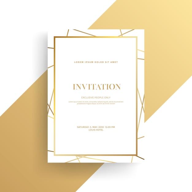 黄金の質感を持つ高級招待状 Premiumベクター