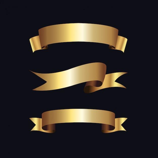 Золотые этикетки с золотой рамкой на бежевом Premium векторы