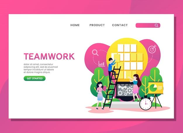 Целевая страница или веб-шаблон. концепция совместной работы с женщиной и мужчиной Premium векторы