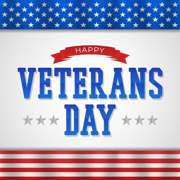 Счастливый день ветеранов с текстом и флагом вектора Premium векторы