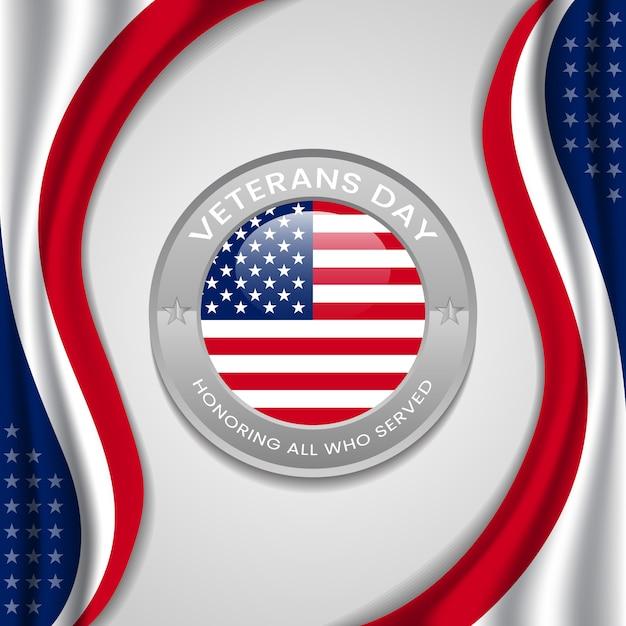 Счастливый день ветеранов с кругом флагом сша вектора Premium векторы