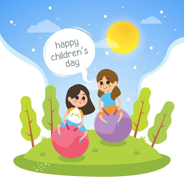 女の子と幸せな子供の日のイラストは公園で遊ぶ Premiumベクター