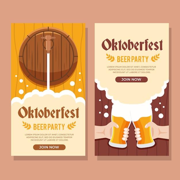 オクトーバーフェストの伝統的なドイツのお祭りのバナー Premiumベクター