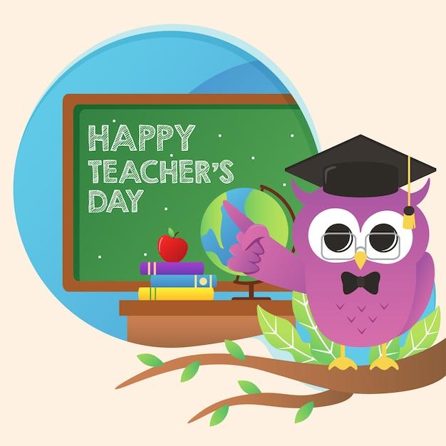 かわいい紫色のフクロウと世界教師の日イラスト Premiumベクター