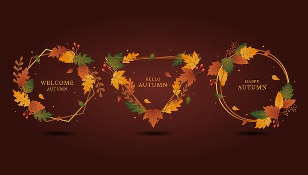 秋の挨拶セットのレギンスゴールデンフレームの幾何学的形状 Premiumベクター
