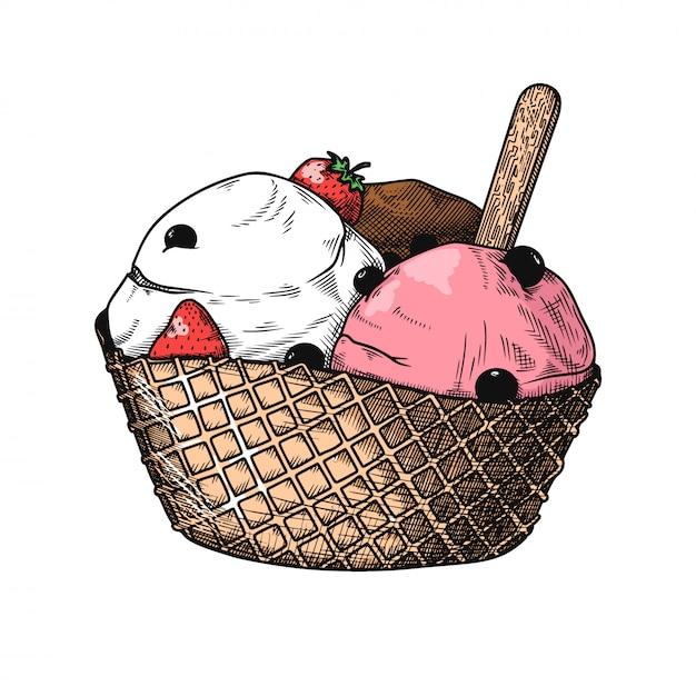Реалистичный эскиз мороженого в вазе. иллюстрация Premium векторы