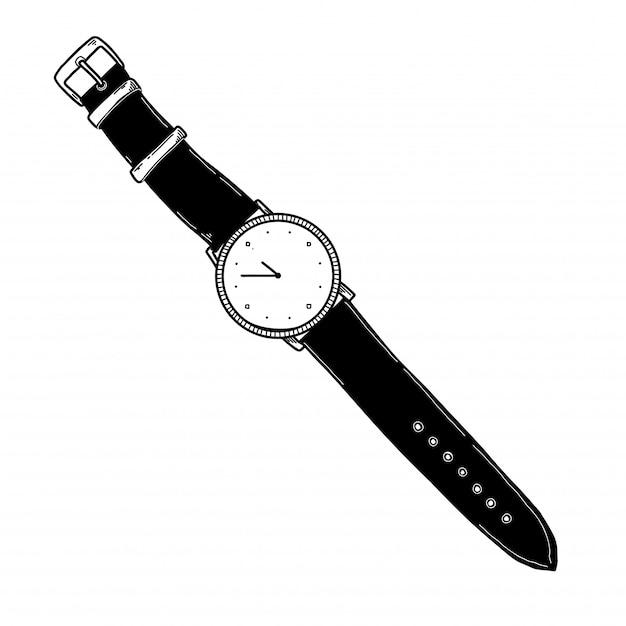 時計のリアルなスケッチ Premiumベクター