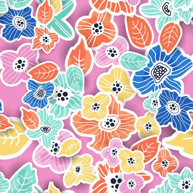カラフルな花柄シームレス Premiumベクター