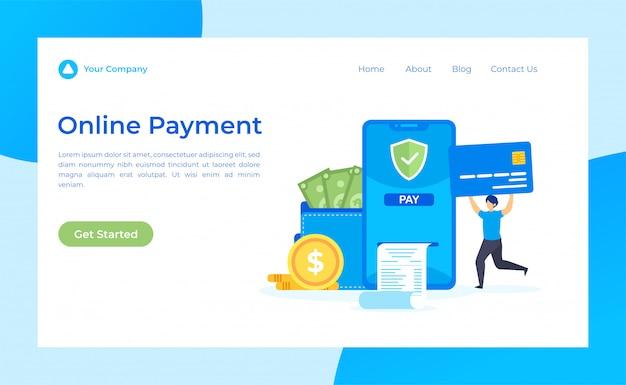 オンライン支払いランディングページ Premiumベクター