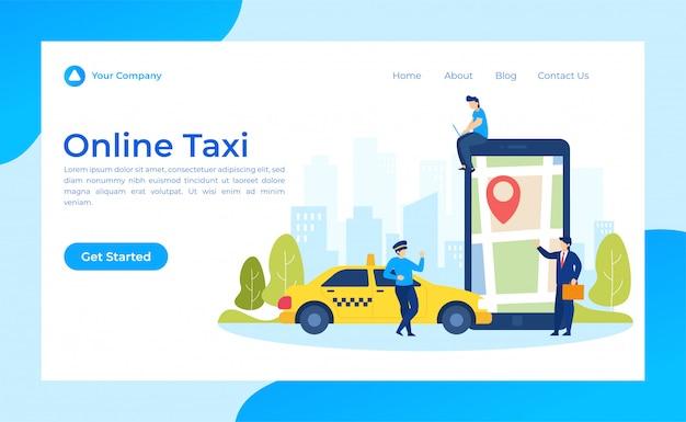Целевая страница такси онлайн Premium векторы