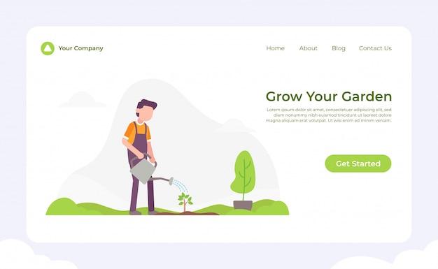 庭のランディングページを成長させる Premiumベクター