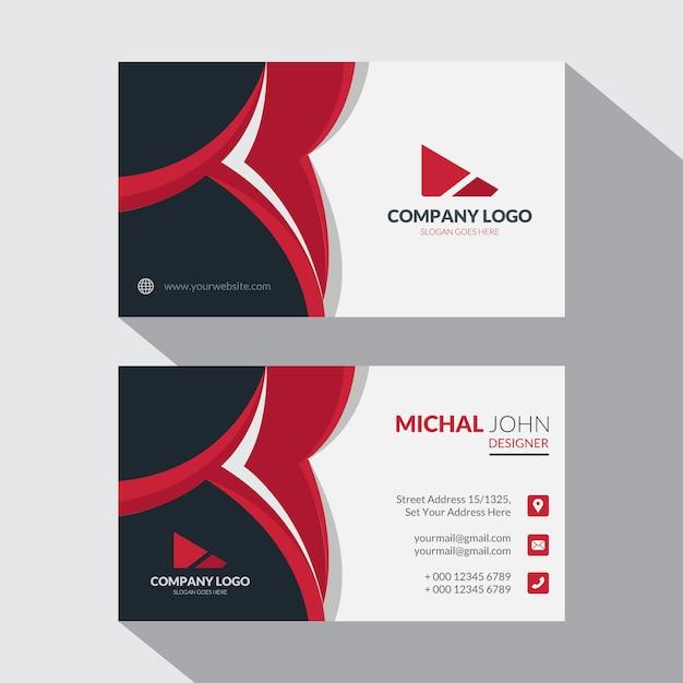 企業のエレガントな赤と黒の名刺デザインテンプレート Premiumベクター