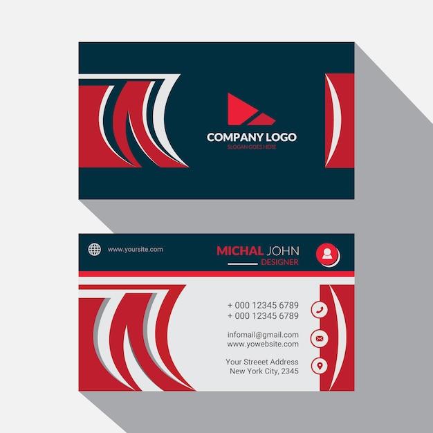 赤い企業名刺テンプレートデザイン Premiumベクター