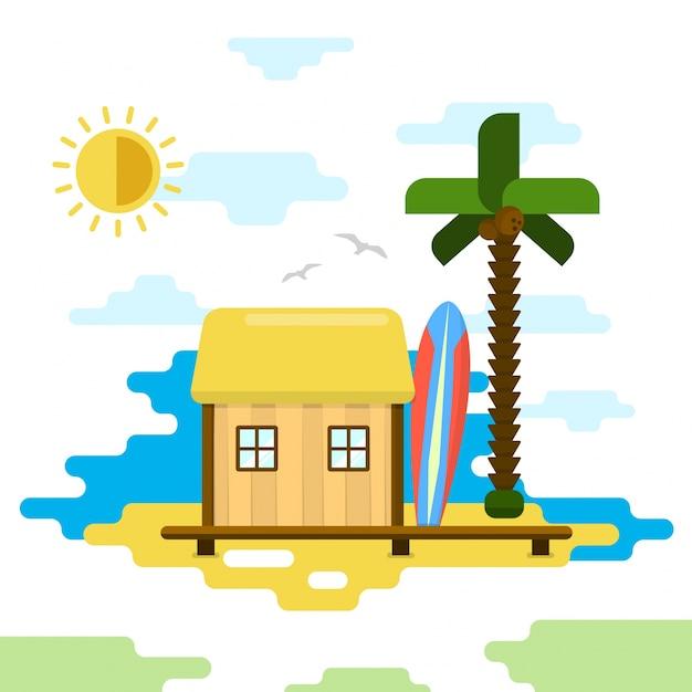 ビーチバンガローフラットスタイルのベクトルイラスト夏休み 無料ベクター