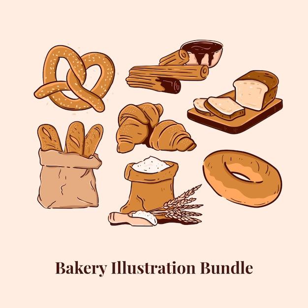 Пекарня иллюстрация бандл крендель чуррос хлеб багет круассан мука бублик Premium векторы