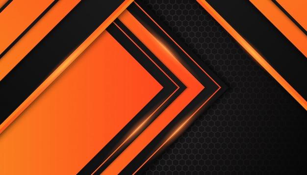 Абстрактные оранжевые геометрические фигуры на темном фоне Premium векторы