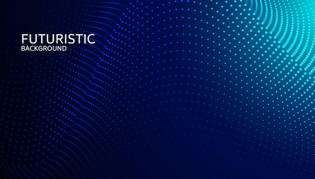 Абстрактная частица цифровой волны на синем фоне Premium векторы