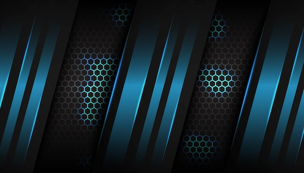 六角形の暗い背景に抽象的な青い光の幾何学的図形 Premiumベクター