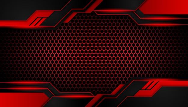 暗い六角形の豪華な抽象的な赤い光 Premiumベクター