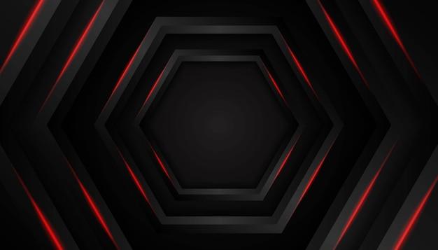 Абстрактный шестиугольник красный свет на темном фоне. Premium векторы