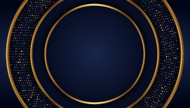 金色の線とドットと抽象的な暗い青色の背景 Premiumベクター